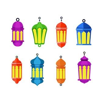 Conjunto de colección de linternas de elementos para el ramadán kareem religioso islámico