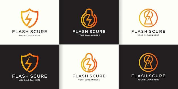 Conjunto de colección de logotipos de escudo de energía eléctrica