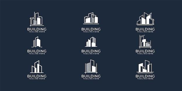 Conjunto de colección de logotipos inmobiliarios de edificios modernos.