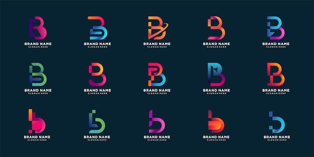 Conjunto de colección de logotipos de letra b con concepto de colorido degradado