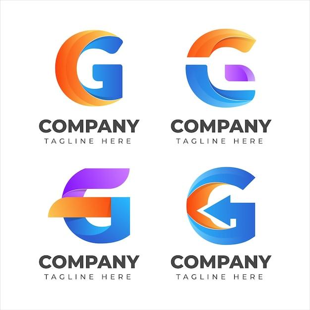Conjunto de colección de logotipos de letra g con concepto colorido para empresa