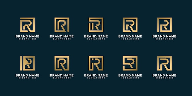 Conjunto de colección de logotipos de letras doradas con r inicial, dorada