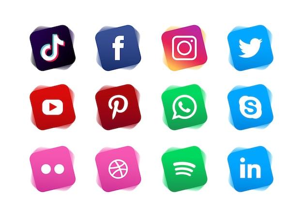 Conjunto de colección de logotipos de redes sociales con degradado