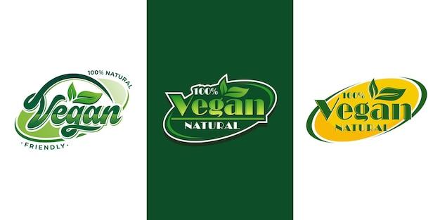 Conjunto de colección de logotipos veganos