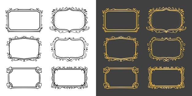 Conjunto de colección de lujo de marco de adorno vintage dorado