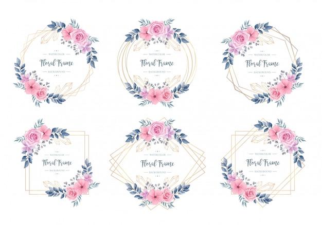 Conjunto de colección de marco floral acuarela vintage