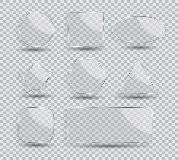 Conjunto de colección de marco de transparencia de vidrio ilustración