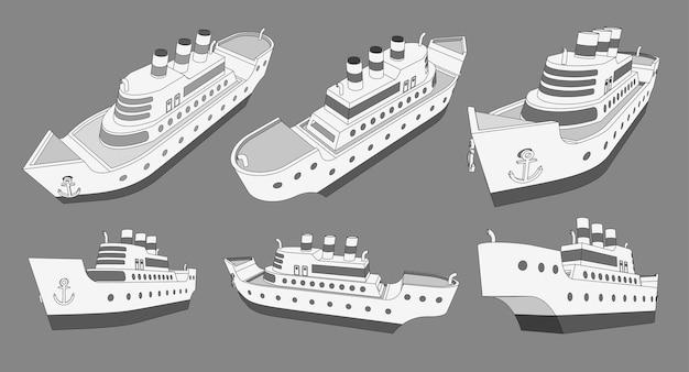 Conjunto, colección con modelos 3d de crucero de gran barco con tres tubos.