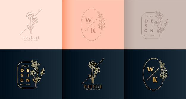 Conjunto de colección de monogramas con logo floral