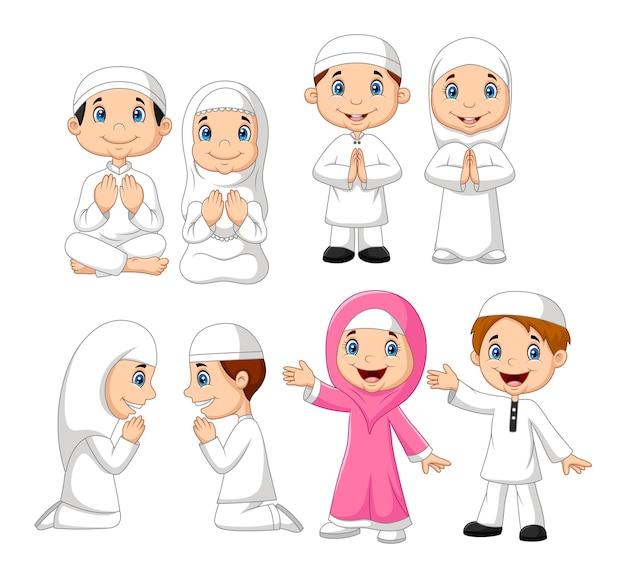 Conjunto de colección de niño musulmán de dibujos animados