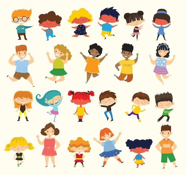 Conjunto de colección de niños pequeños felices aislado sobre fondo blanco.
