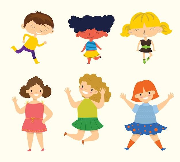 Conjunto de colección de niños pequeños felices. aislado