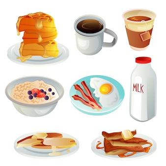 Conjunto de colección de objetos de artículos de desayuno