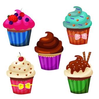 Conjunto de colección de objetos de icono de cupcakes dulces