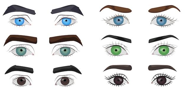 Conjunto de colección de ojos masculinos y femeninos.
