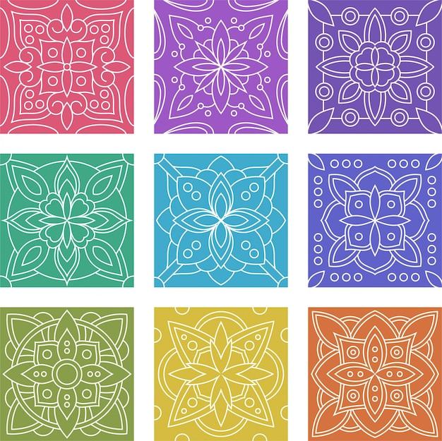 Conjunto de colección de patrones sin fisuras de azulejo batik geométrico