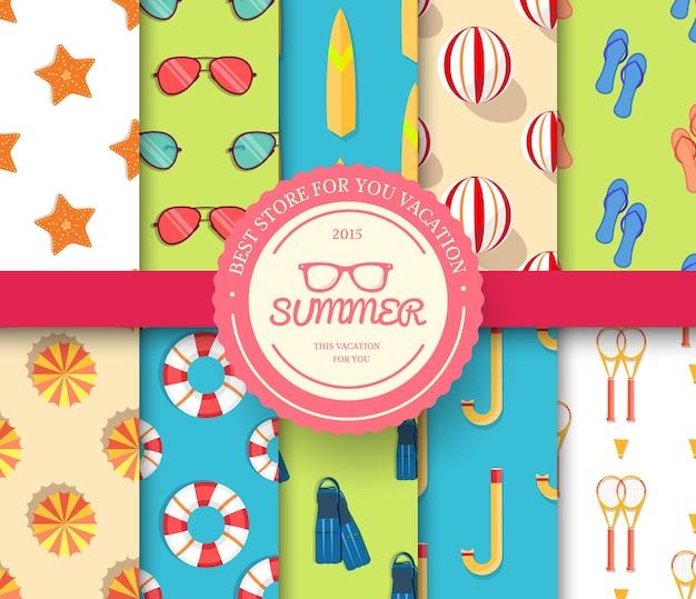 Conjunto de colección de patrones sin fisuras de vacaciones de verano