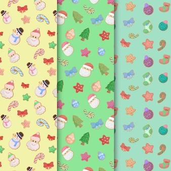 Conjunto de colección de patrones navideños sin costura dibujados a mano lindo divertido