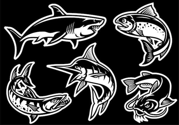 Conjunto de colección de peces en estilo blanco y negro