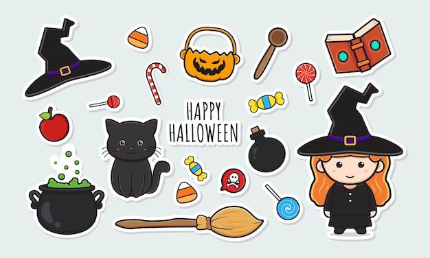 Conjunto de colección de pegatinas de halloween de bruja linda con ilustración de arte de clip de doodle de dibujos animados de objeto Vector Premium