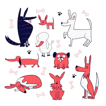 Conjunto de colección de perros dibujados a mano