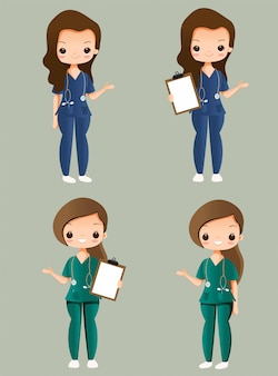 Conjunto de colección de personajes de dibujos animados lindo enfermera