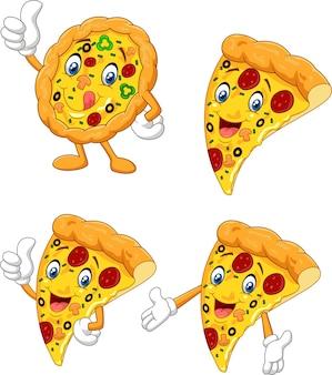 Conjunto de colección de pizza divertida de dibujos animados