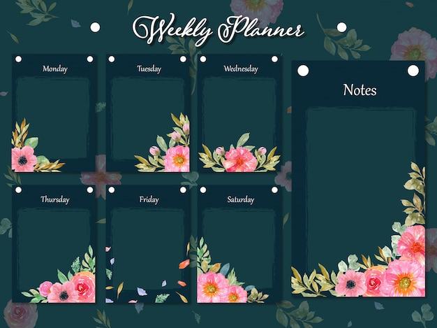 Conjunto de colección de planificador semanal con hermosas flores