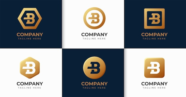 Conjunto de colección de plantillas de diseño de logotipo de letra b creativa