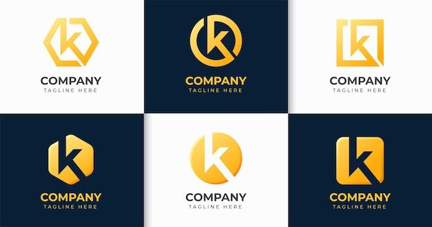 Conjunto de colección de plantillas de diseño de logotipo de letra k creativa