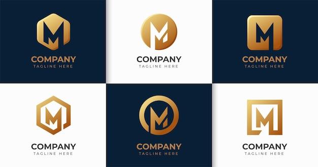 Conjunto de colección de plantillas de diseño de logotipo de letra m creativa