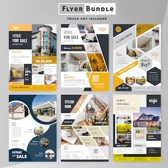 Conjunto de colección de plantillas de flyer de bienes raíces