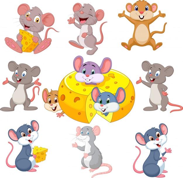 Conjunto de colección de ratón divertido de dibujos animados