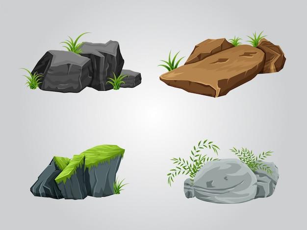 Conjunto de colección de rocas