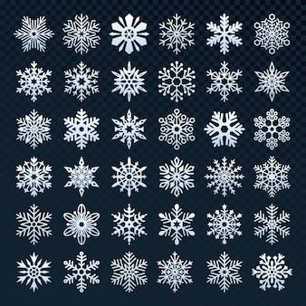 Conjunto de colección de silueta de copos de nieve
