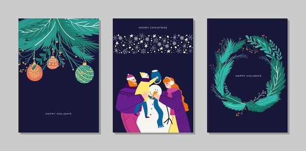 Conjunto de colección de tarjetas de feliz navidad y feliz año nuevo vector dibujado a mano