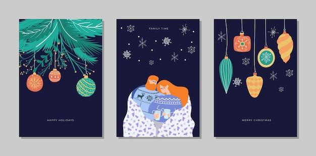 Conjunto de colección de tarjetas de feliz navidad y próspero año nuevo
