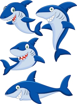 Conjunto de colección de tiburones de dibujos animados