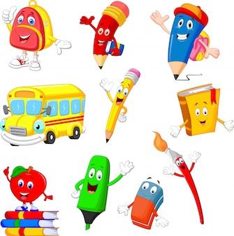 Conjunto de colección de útiles escolares de dibujos animados