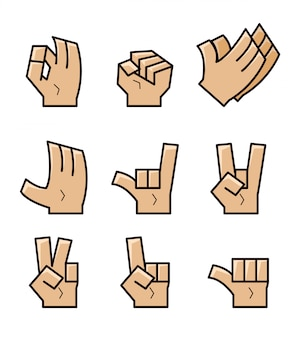 Conjunto de la colección del vector del gesto de mano de la historieta del cubo.