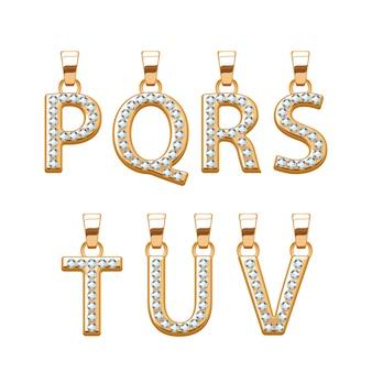 Conjunto de colgantes abc de letras doradas con diamantes de piedras preciosas. ilustración. bueno para joyería.