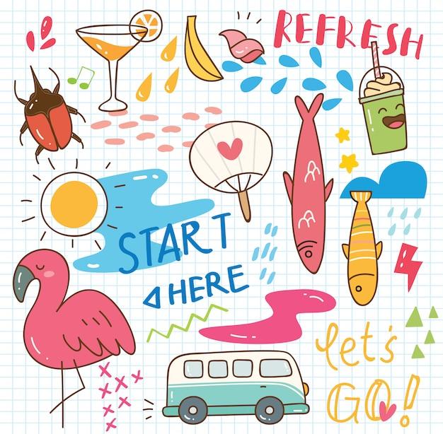 Conjunto de collage de doodle de verano