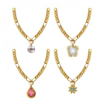 Conjunto collar joyas gemas aislado