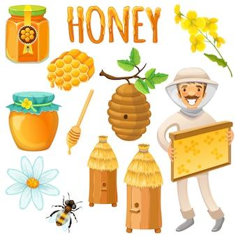 Conjunto de color miel y aislado con apicultor feliz trabaja en una ilustración de vector de colmenar