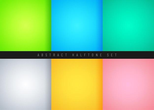 Conjunto de color pastel abstracto con diseño de decoración de patrón de cómic de semitono