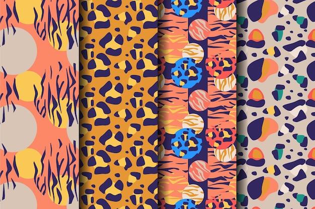 Conjunto coloreado de estampados sin costuras de animales