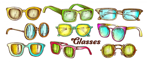 Conjunto de colores de accesorios de moda de gafas