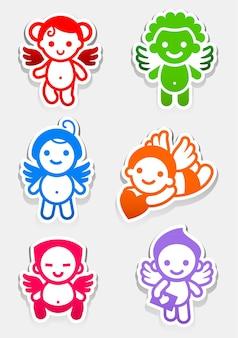 Conjunto de colores de cupido e iconos de amurs de bodas
