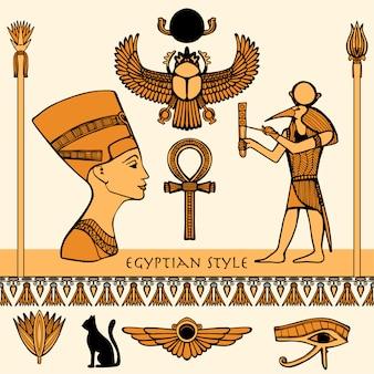 Conjunto de colores de egipto