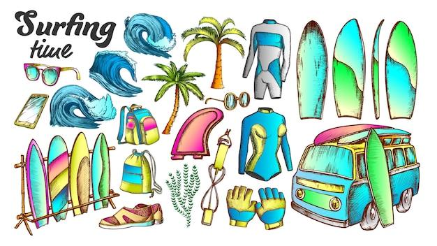 Conjunto de colores de elementos de colección de tiempo de surf